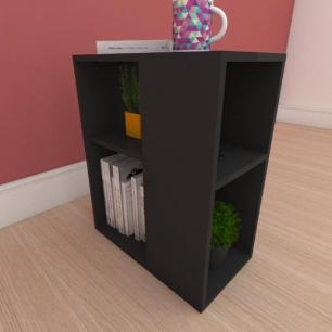 Estante de Livros pequena com prateleira em mdf preto