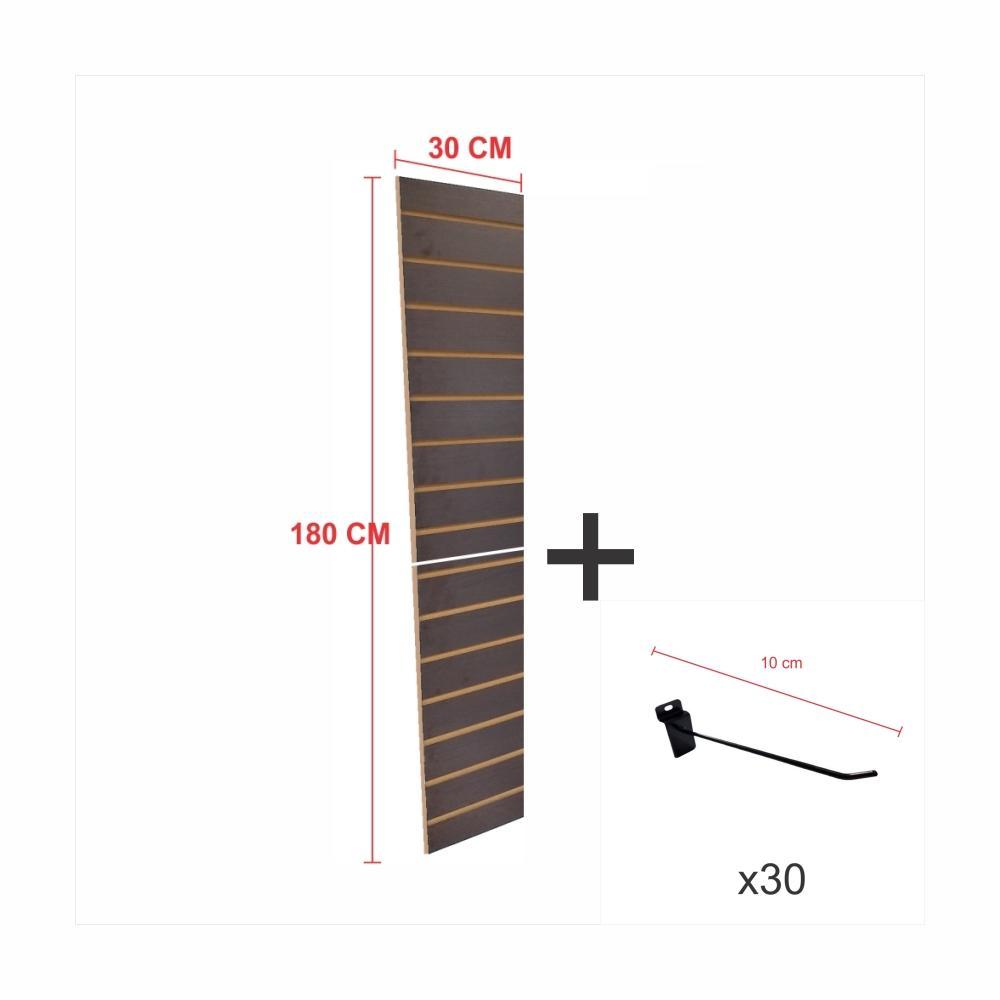 Expositor canaletado preto alt 180 cm comp 30 cm mais 30 ganchos 10 cm
