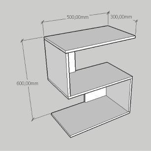Mesa Lateral compacta em formato de S em mdf branco