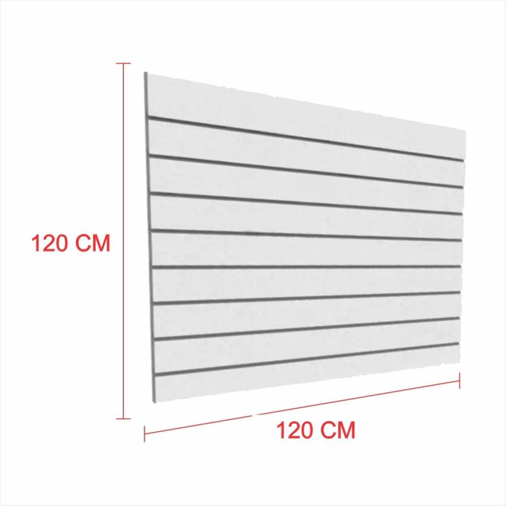 Expositor painel canaletado 18mm cinza altura 120 cm comp 120 cm