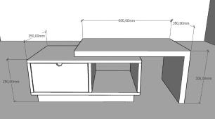 Mesa de centro moderna cinza com amadeirado escuro
