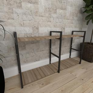 Mini estante industrial para sala aço cor preto mdf 30cm cor amadeirado escuro modelo ind13aeeps
