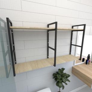 Prateleira industrial banheiro aço cor preto prateleiras 30cm cor amadeirado claro mod ind13acb