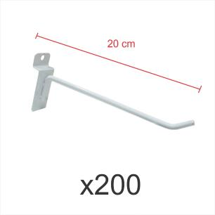 kit para expositor com 200 ganchos 4mm branco de 20 cm para painel canaletado