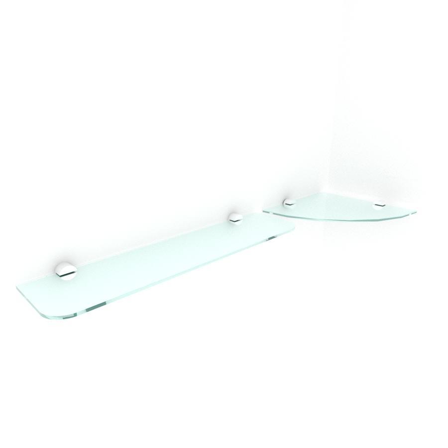 kit com 2 Prateleira de vidro temperado para escritorio 1 de 20 cm para canto e 1 de 40 cm reta