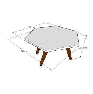 Mesa de Centro hexagonal em mdf branco com 4 pés inclinados em madeira maciça cor mogno
