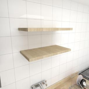 Kit 2 prateleiras para cozinha em MDF suporte Inivisivel amadeirado claro 60x30cm modelo pratcamc23
