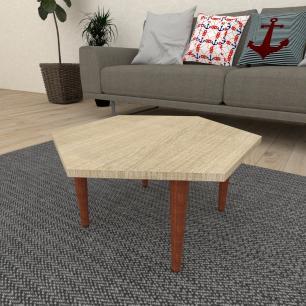 Mesa de Centro hexagonal em mdf amadeirado claro com 4 pés retos em madeira maciça cor mogno