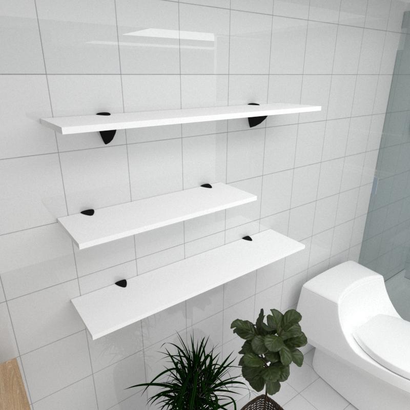 Kit 3 prateleiras banheiro em MDF suporte tucano branco 1 60x20cm 2 90x20cm modelo pratbnb16