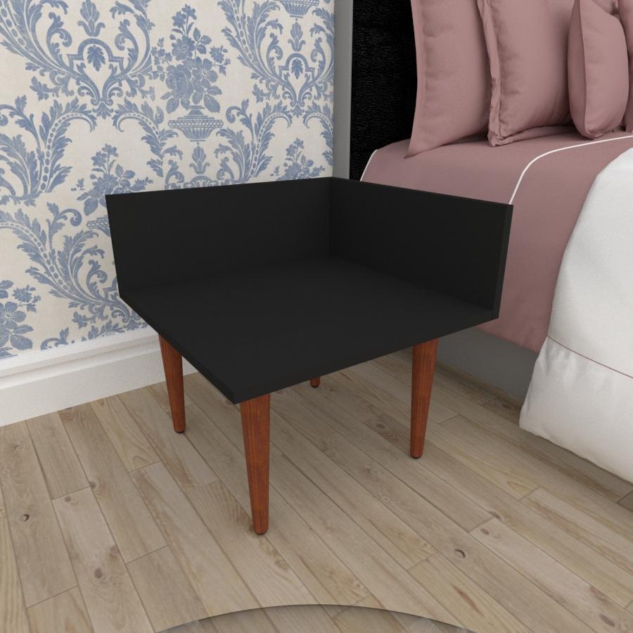 Mesa de Cabeceira simples em mdf preto com 4 pés retos em madeira maciça cor mogno