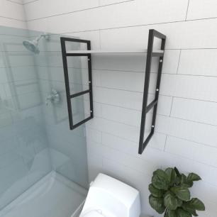 Prateleira industrial para banheiro aço cor preto prateleiras 30 cm cor cinza modelo ind15cb