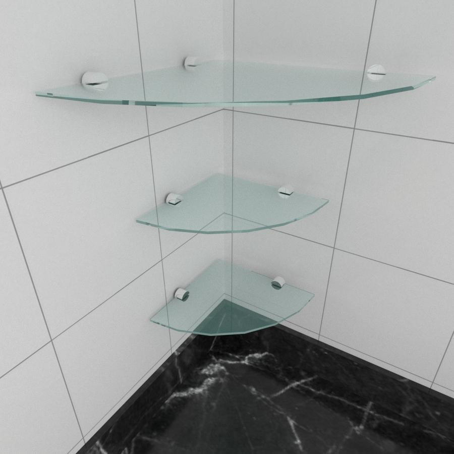 kit com 3 Prateleira para canto de vidro temperado para cozinha 1 de 30 cm e 2 de 20 cm