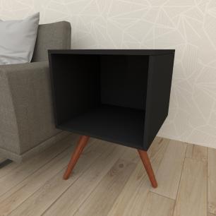Mesa lateral moderna em mdf preto com 3 pés inclinados em madeira maciça cor mogno