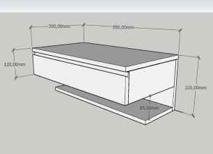Mesa de cabeceira moderna cinza com branco
