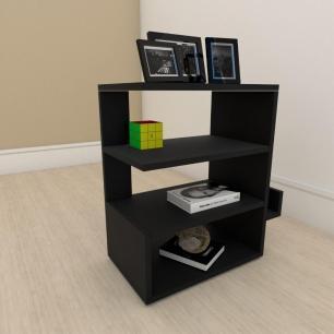 kit com 2 Mesa de cabeceira minimalista com nicho em mdf Preto