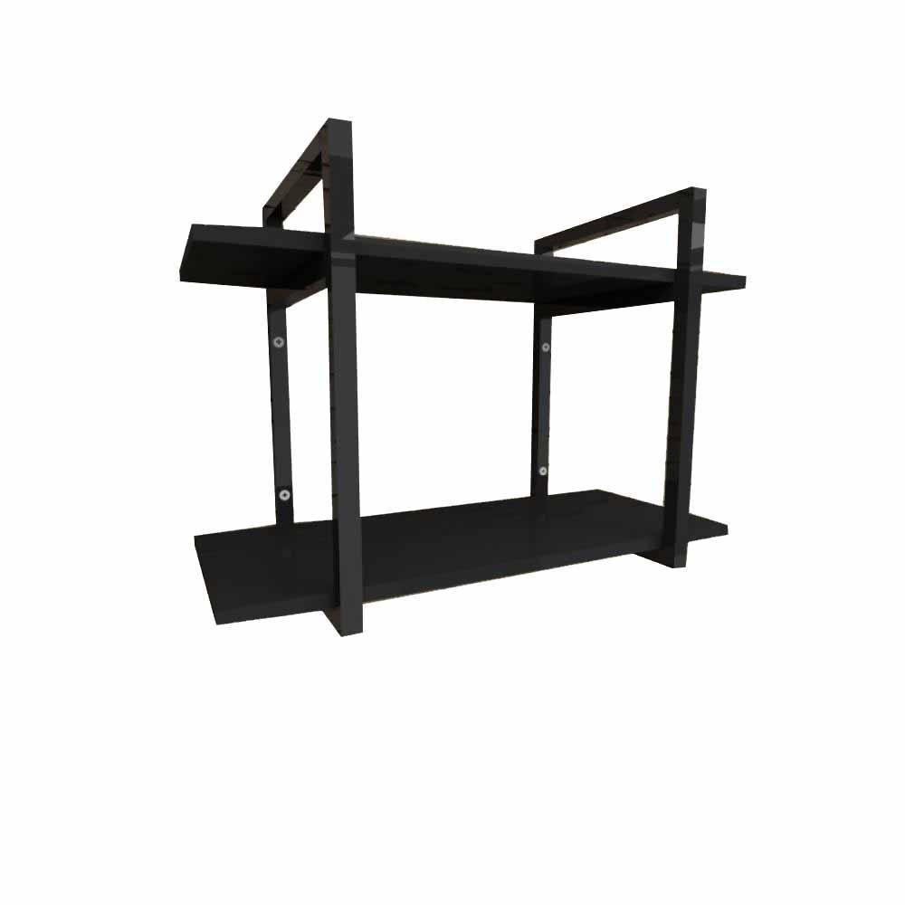 Prateleira industrial aço cor preto 30 cm MDF cor preto modelo indfb02psl
