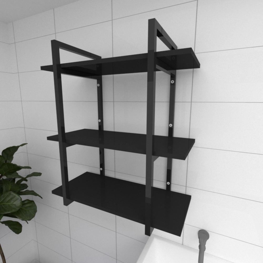 Prateleira industrial para lavanderia aço cor preto prateleiras 30 cm cor preto modelo ind09plav