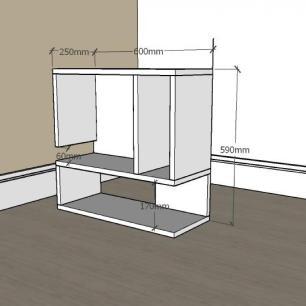 Mesa Lateral para sofá minimalista com nicho em mdf Cinza