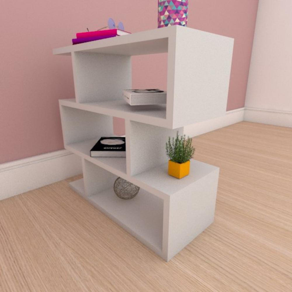Mesa de cabeceira compacta tripla em mdf cinza