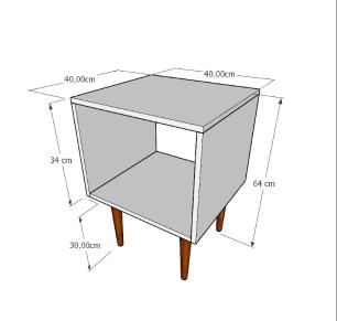 Mesa de Cabeceira nicho em mdf branco com 4 pés retos em madeira maciça cor tabaco