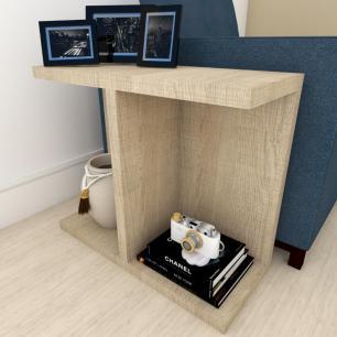 Kit com 2 mesa de cabeceira moderna amadeirado claro