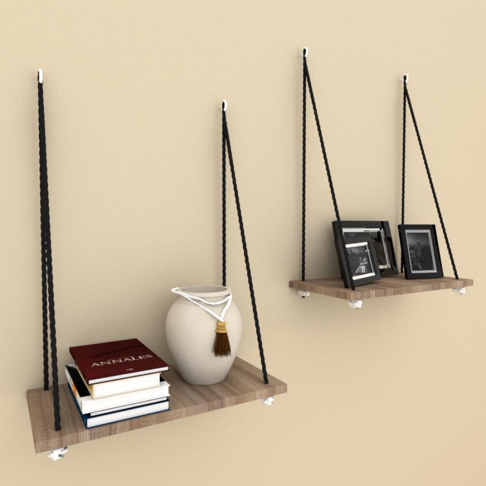 Kit com 2 nicho prateleira com cordas, 20x40 cm mdf Amadeirado escuro