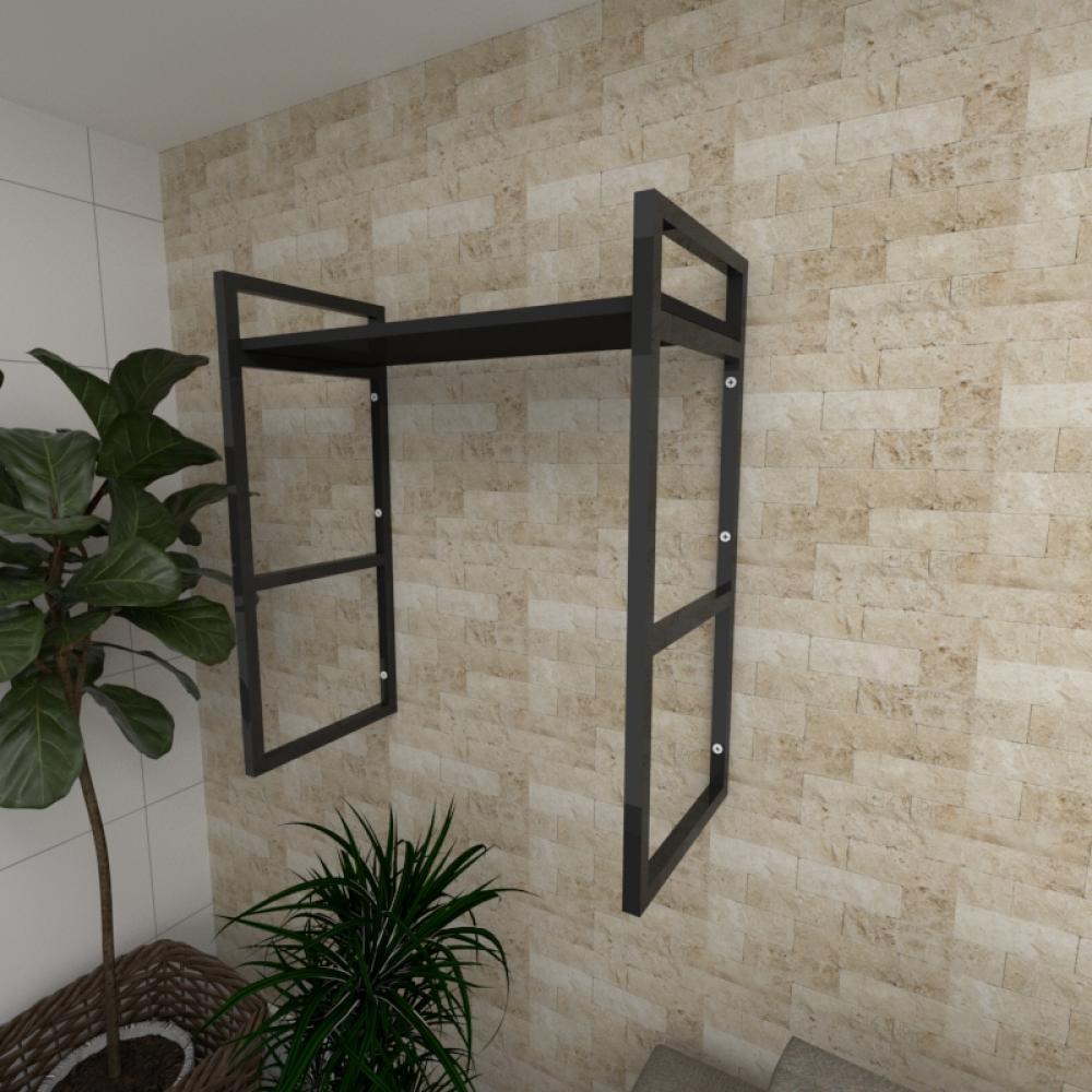 Prateleira industrial para Sala aço cor preto prateleiras 30 cm cor preto modelo ind15psl