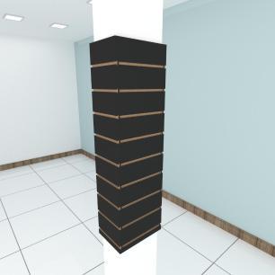 Kit 4 Painel canaletado para pilar preto 2 peças 24(L)x120(A)cm + 2 peças 30(L)x120(A)cm