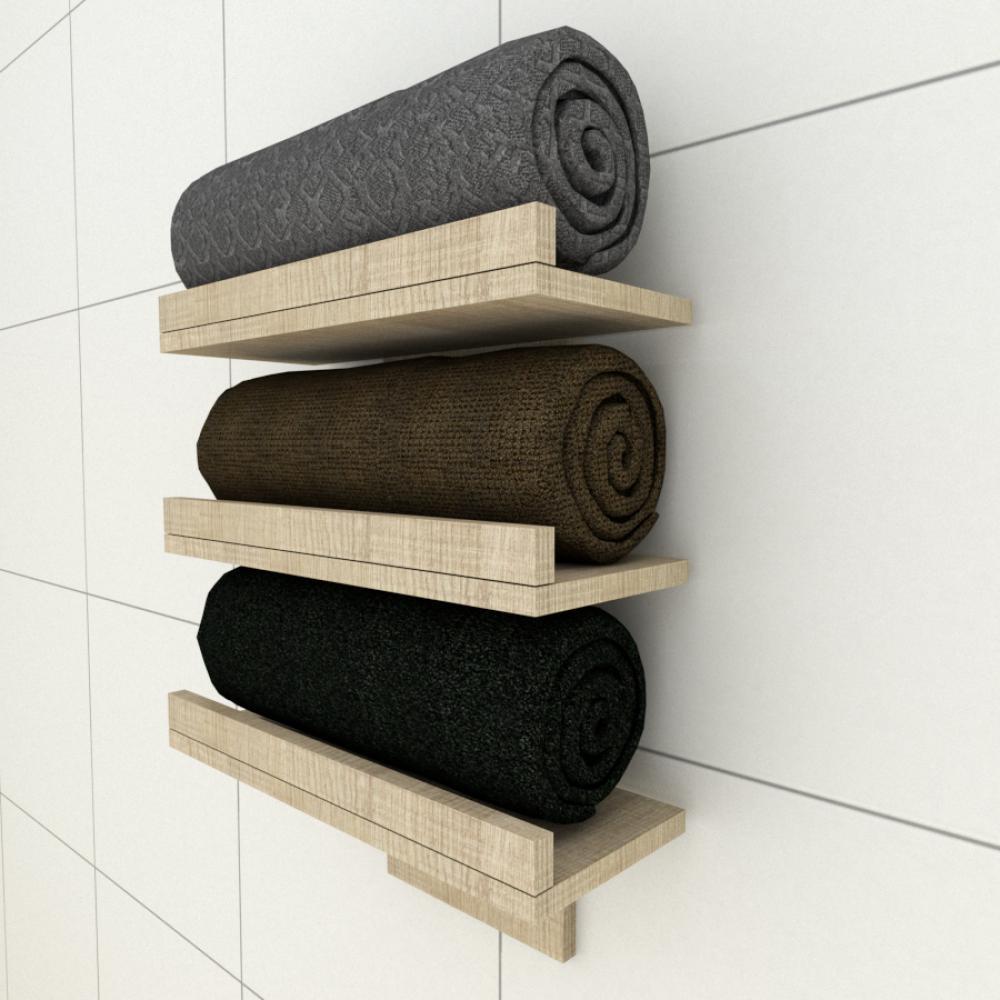 Prateleiras para toalhas amadeirado claro