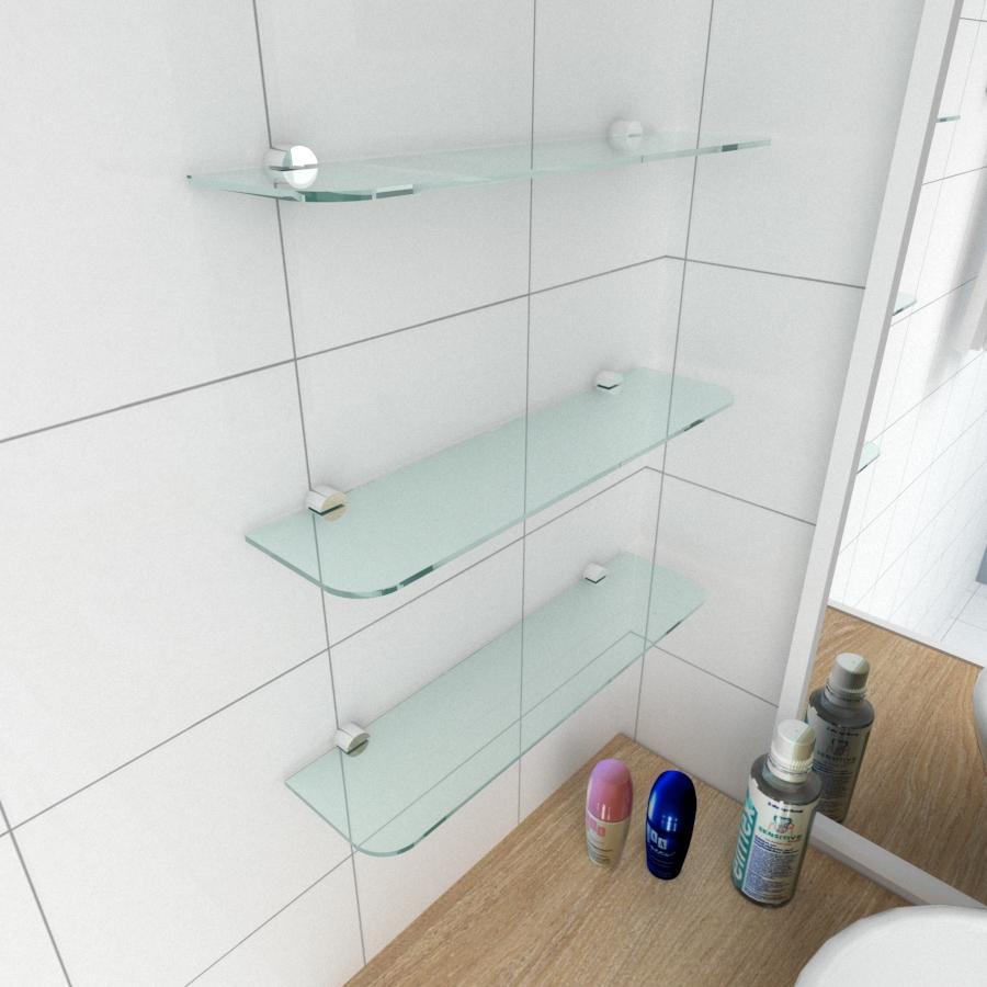 kit com 3 Prateleira de vidro temperado para banheiro 40(C)x8(P)cm
