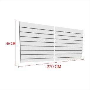 Expositor painel canaletado 18mm cinza altura 90 cm comp 270 cm