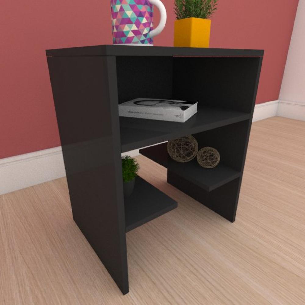 Kit com 2 Mesa de cabeceira com prateleiras em mdf preto