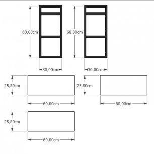 Prateleira industrial cozinha aço cor preto prateleiras 30cm cor amadeirado escuro mod ind09aec