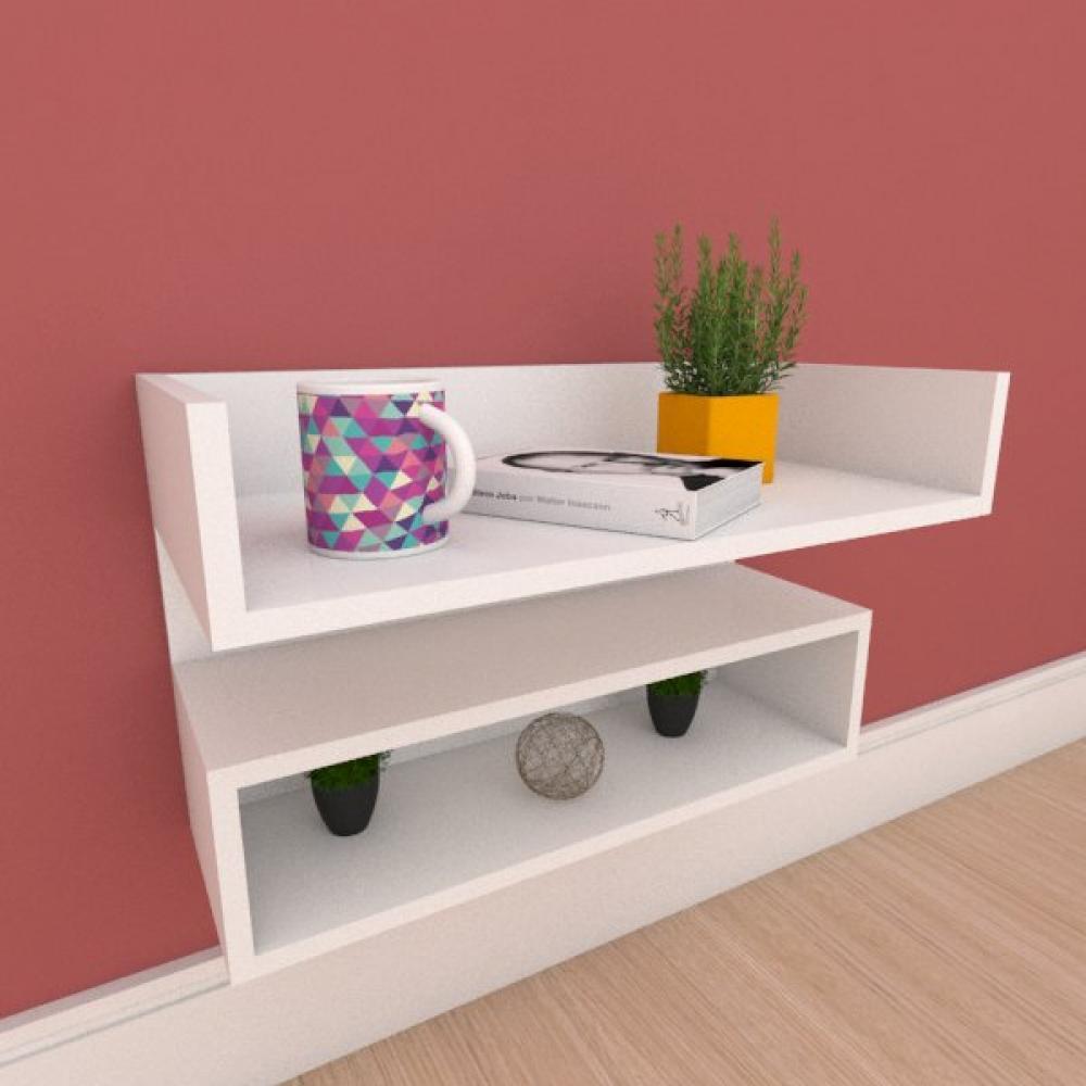 Mesa de cabeceira suspensa com nicho em mdf branco