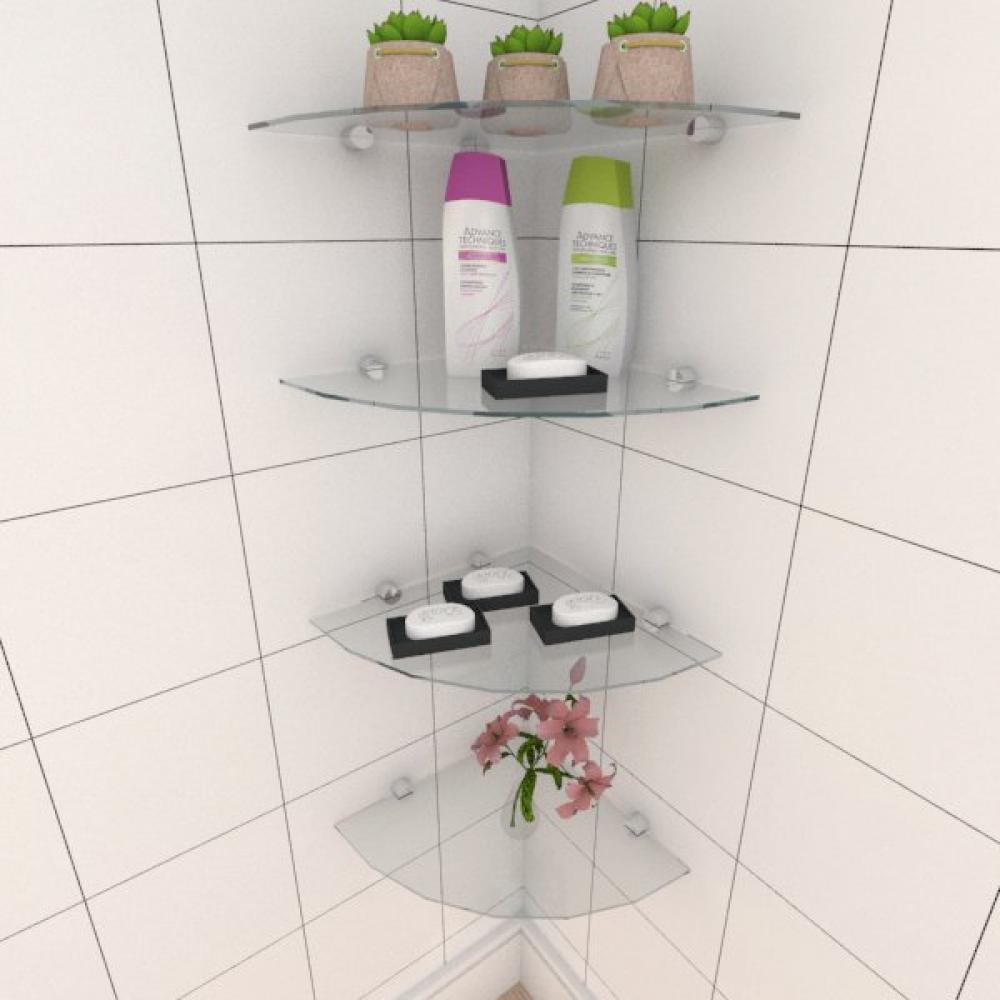 Kit com quatro Prateleira para banheiro de canto 30 cm vidro temperado