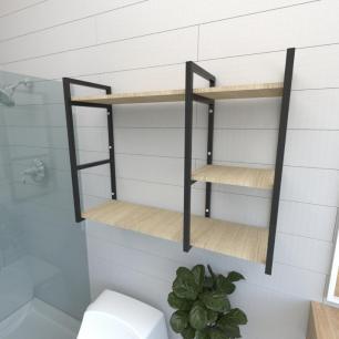 Prateleira industrial banheiro aço cor preto prateleiras 30cm cor amadeirado claro mod ind16acb