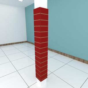 Kit 4 Painel canaletado para pilar vermelho escuro 2 peças 24(L)x180(A)cm + 2 peças 20(L)x180(A)cm