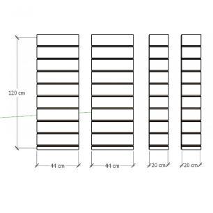 Kit 4 Painel canaletado para pilar cinza cristal 2 peças 44(L)x120(A)cm + 2 peças 20(L)x120(A)cm