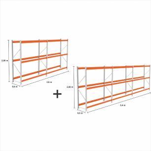 kit com 5 Expositor Mini Porta Pallet 2 inic + 3 cont 250KG Com 3 niveis 2,00X1,80X0,60 Sem Bandeja