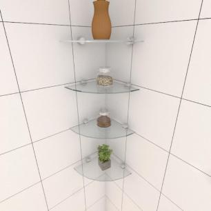 Kit com quatro Prateleira para cozinha de canto 20 cm vidro temperado
