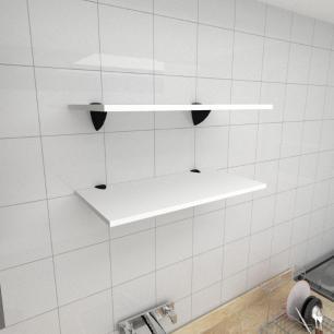 Kit 2 prateleiras para cozinha em MDF suporte tucano branco 60x30cm modelo pratcb05