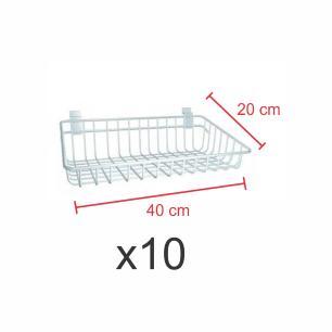 kit para expositor com 10 Cestos para painel canaletado 20x40 cm branco