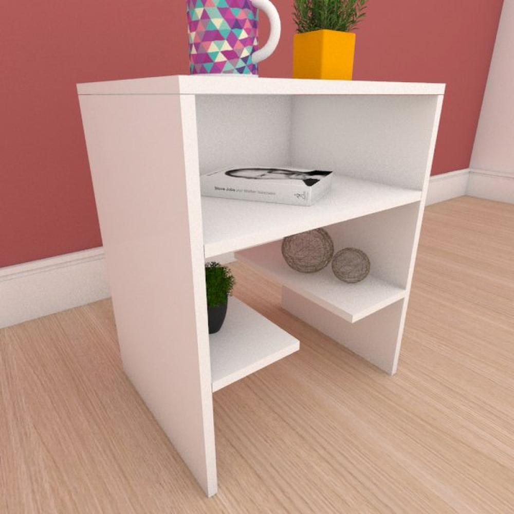 Mesa de cabeceira com prateleiras em mdf branco