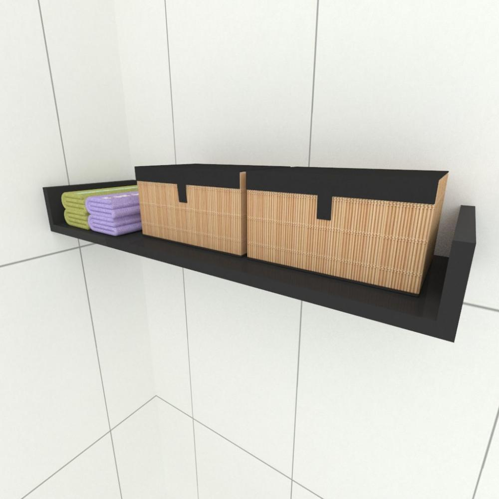 Prateleira para cozinha, nichos modernos, em mdf preto