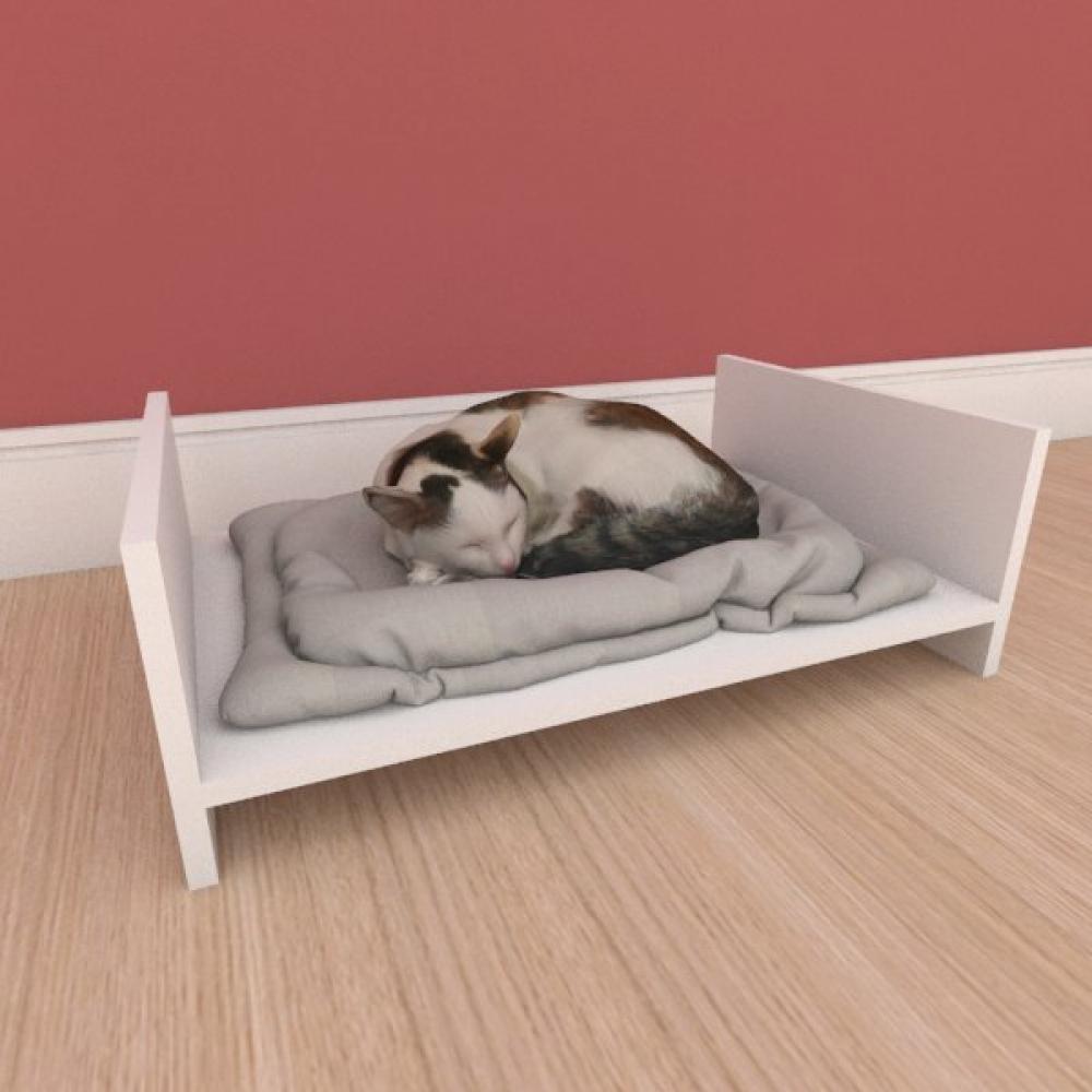 Mesa de cabeceira caminha simples pequeno gato em mdf branco