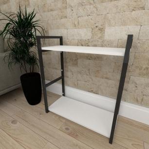 Mini estante industrial para escritório aço cor preto prateleiras 30 cm cor branca modelo ind10bep