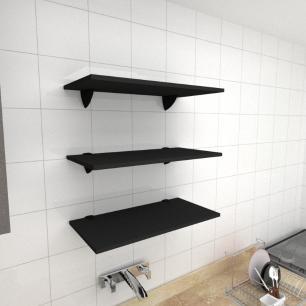 Kit 3 prateleiras para cozinha em MDF suporte tucano preto 60x30cm modelo pratcp06