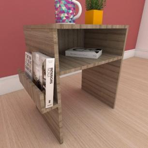 Kit com 2 Mesa de cabeceira com prateleira para livro em mdf amadeirado