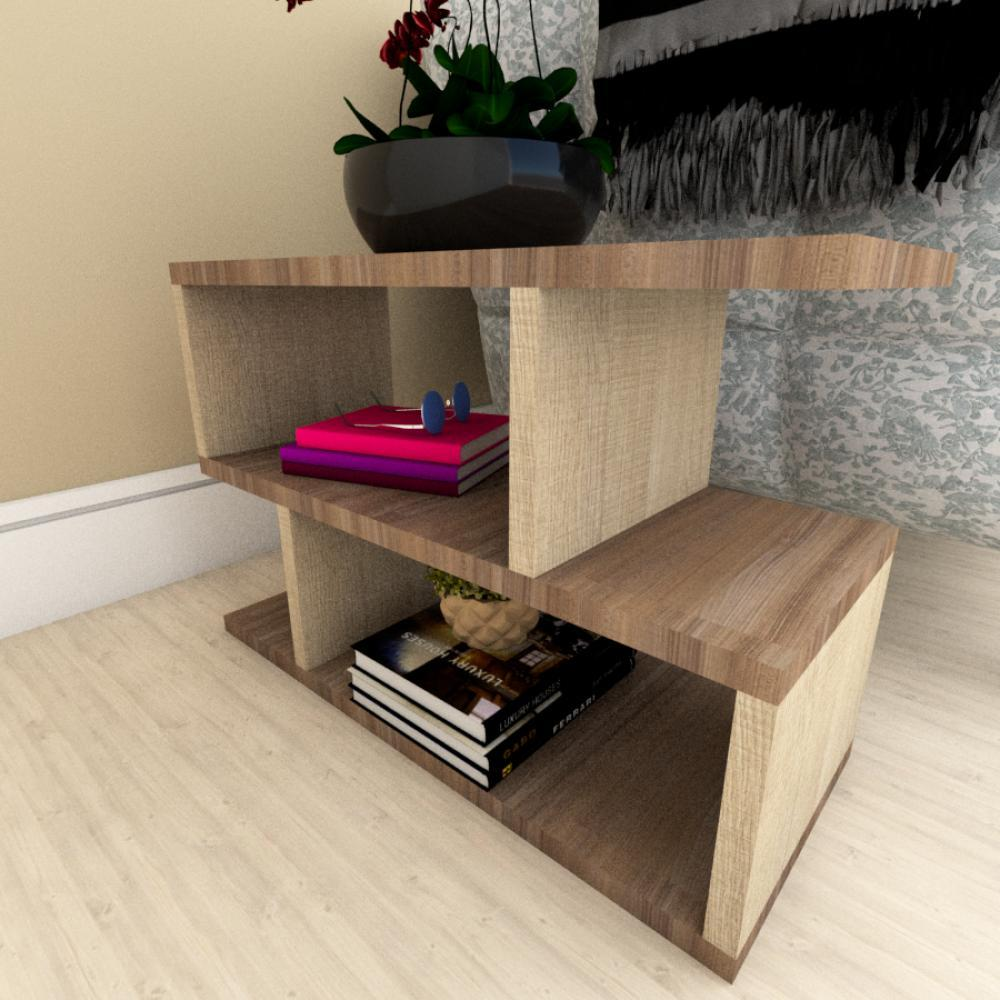 Kit com 2 Mesa de cabeceira amadeirado escuro e claro