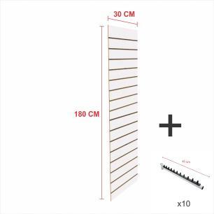 Kit Painel canaletado branco alt 180 cm comp 30 cm mais 10 ganchos rt 40 cm para roupas